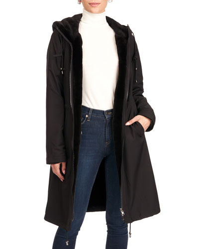 Reversible Sheared Mink Fur Horizontal Parka