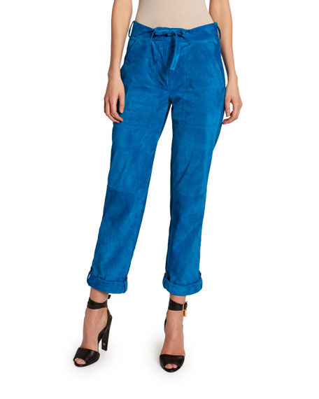 TOM FORD Suede Tie-Waist Easy Pants