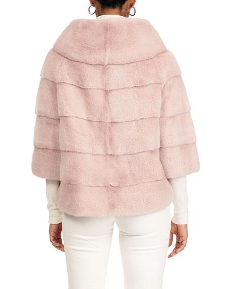Gorski Horizontal Mink Fur Jacket W/ 3/4 Sleeve And Cowl Collar