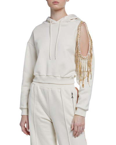 Crystalized Open-Shoulder Hoodie