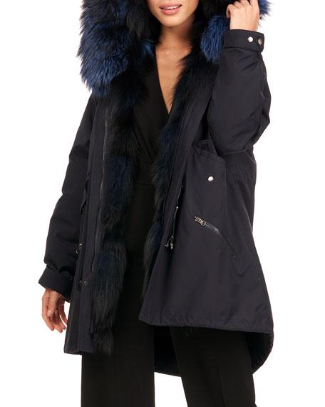 Gorski Parka Coat W/ Silver Fox Fur Tuxedo And Trim