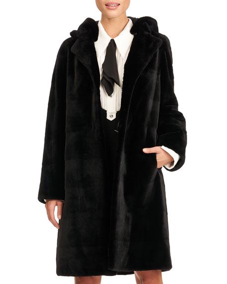 Gorski Reversible Horizontal Sheared Mink Fur Stroller W/ Detachable Hood