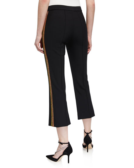 Area Crystal-Striped Crop Flare Pants