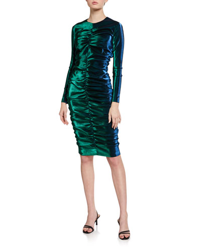 Iridescent Shirred Long-Sleeve Dress