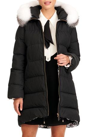 Gorski Apres-Ski Puffer Jacket W/ Detachable Fox Fur Hood Trim