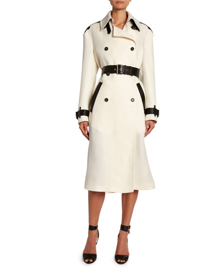 TOM FORD Leather-Trim Double-Breasted Trench Coat