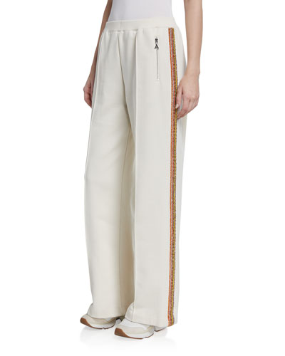Crystalized Striped Wide-Leg Pants