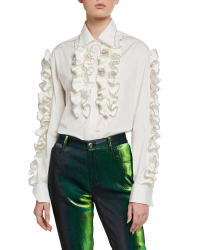 Crystal-Tipped Ruffled Poplin Shirt