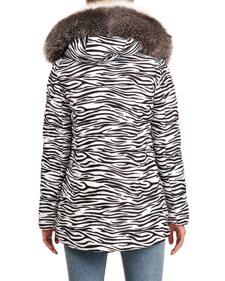 Image 2 of 4: Gorski Reversible Quilted Puffer Jacket W/ Detachable Fox Fur Hood Trim