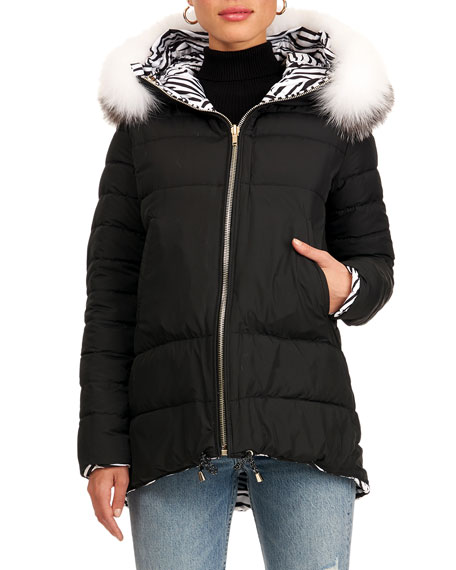 Image 1 of 4: Gorski Reversible Quilted Puffer Jacket W/ Detachable Fox Fur Hood Trim