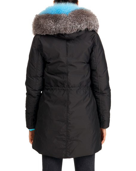 Image 2 of 4: Gorski Reversible Quilted Puffer Apres-Ski Parka Jacket W/ Detachable Fox Fur Hood Trim