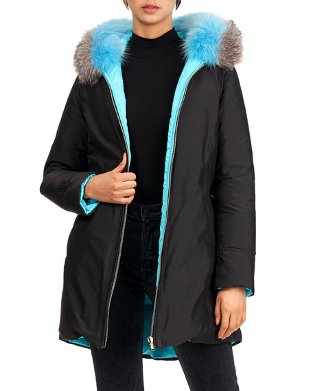 Image 3 of 4: Gorski Reversible Quilted Puffer Apres-Ski Parka Jacket W/ Detachable Fox Fur Hood Trim
