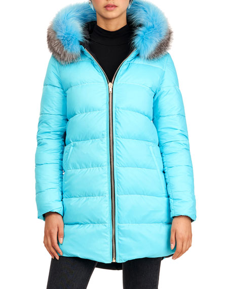 Image 4 of 4: Gorski Reversible Quilted Puffer Apres-Ski Parka Jacket W/ Detachable Fox Fur Hood Trim