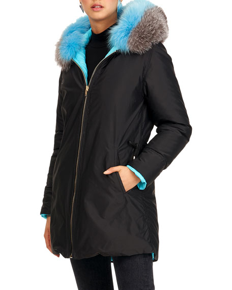 Image 1 of 4: Gorski Reversible Quilted Puffer Apres-Ski Parka Jacket W/ Detachable Fox Fur Hood Trim