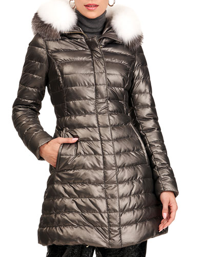 Zip-Front Quilted Puffer Jacket W/ Detachable Fox Fur Hood Trim
