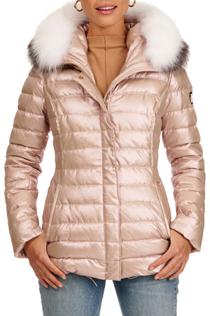 Gorski Zip-Front Quilted Apres-Ski Puffer Jacket W/ Detachable Fox Fur Hood Trim