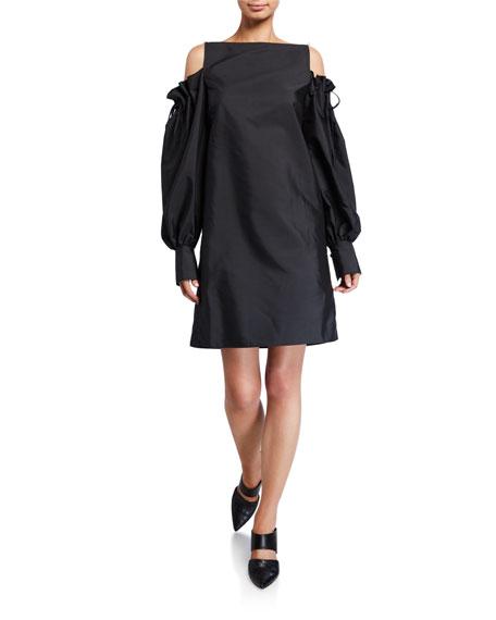 ADEAM Poplin Cinched Cold-Shoulder Dress