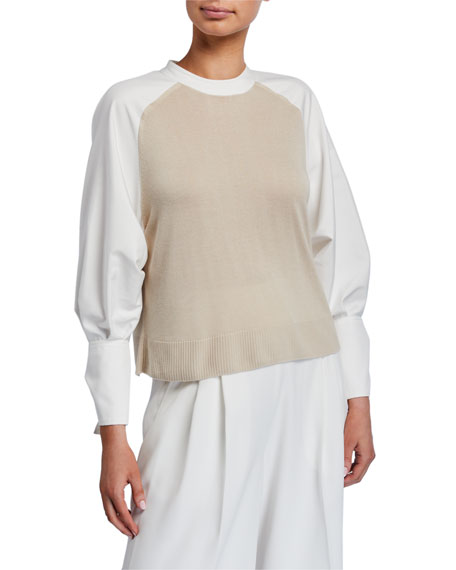 ADEAM Mixed-Material Bow-Cuff Sweater