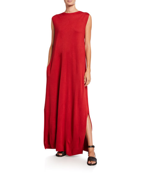 Loro Piana Abito Silk Knit Sleeveless Dress