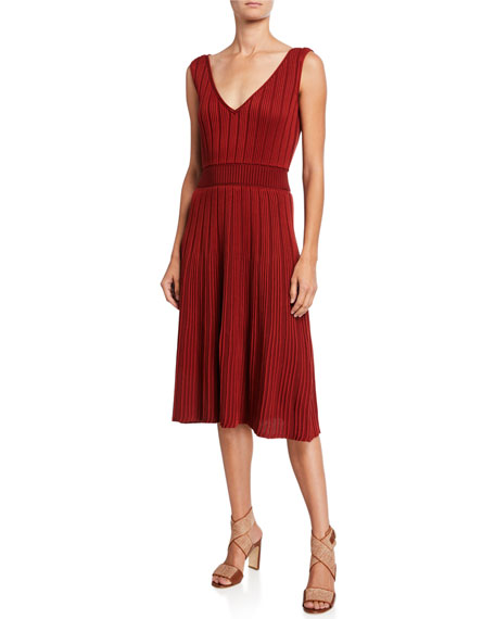 Loro Piana Ribbed Silk-Cotton Sleeveless Dress
