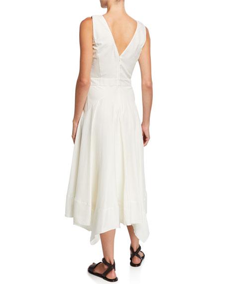 Loro Piana Phoebe Striped Silk Sleeveless V-Neck Dress