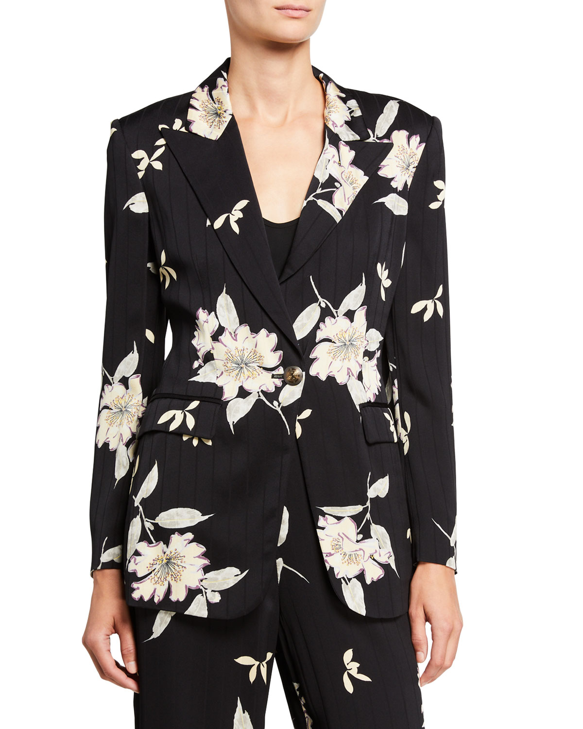 Etro Spaced Plumeria Floral Print Pinstriped Blazer