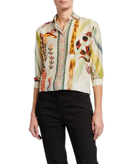 Etro Giraffe Zoo-Print Silk-Cotton Shirt