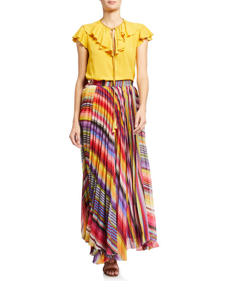 Image 3 of 3: Etro Pleated Rainbow Maxi Skirt