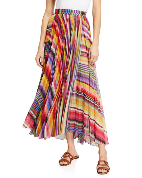 Image 1 of 3: Etro Pleated Rainbow Maxi Skirt