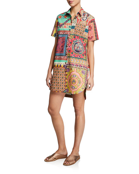 Image 1 of 2: Cotton Polo Short-Sleeve Dress