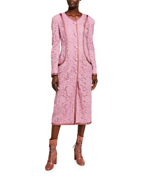 Image 1 of 2: Etro Fitted Lace Taped Coat
