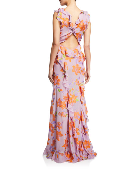 Image 2 of 2: Etro Buttercup Embroidered Ruffled Gown