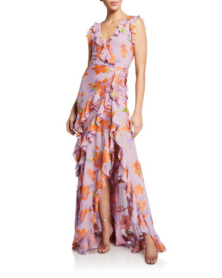 Image 1 of 2: Etro Buttercup Embroidered Ruffled Gown
