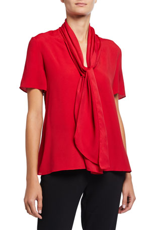 Emporio Armani Tie-Neck Short-Sleeve Textured Blended Satin Blouse