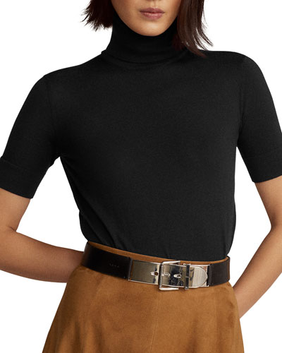 Cashmere Jersey Short-Sleeve Turtleneck Sweater