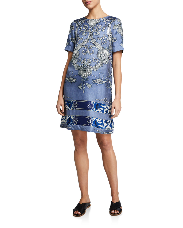 Etro Tassel Floral Short-Sleeve Shift Dress