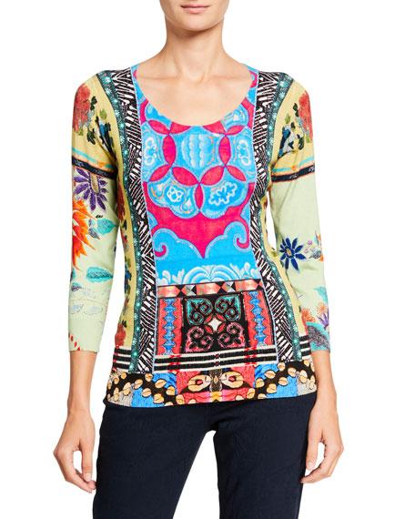 Etro Stampa Croce Scoop-Neck 3/4-Sleeve Silk Sweater