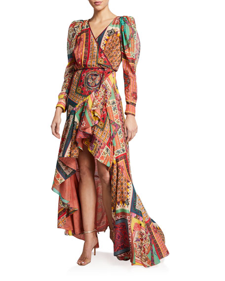 Image 1 of 2: Mosaic Tile-Print Ruffled Gown
