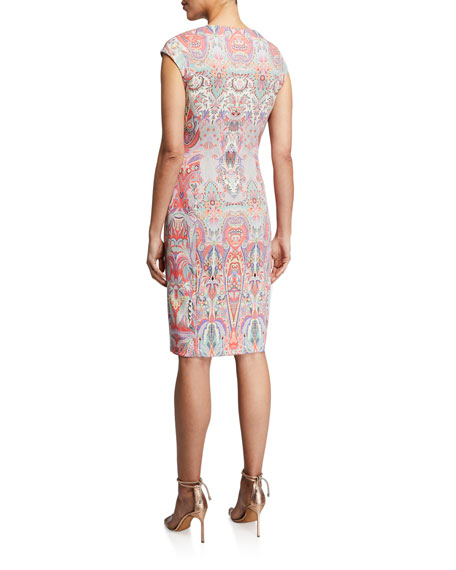 Image 2 of 2: Etro Swirled Paisley Cap-Sleeve Jersey Dress