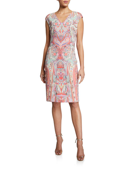 Image 1 of 2: Etro Swirled Paisley Cap-Sleeve Jersey Dress
