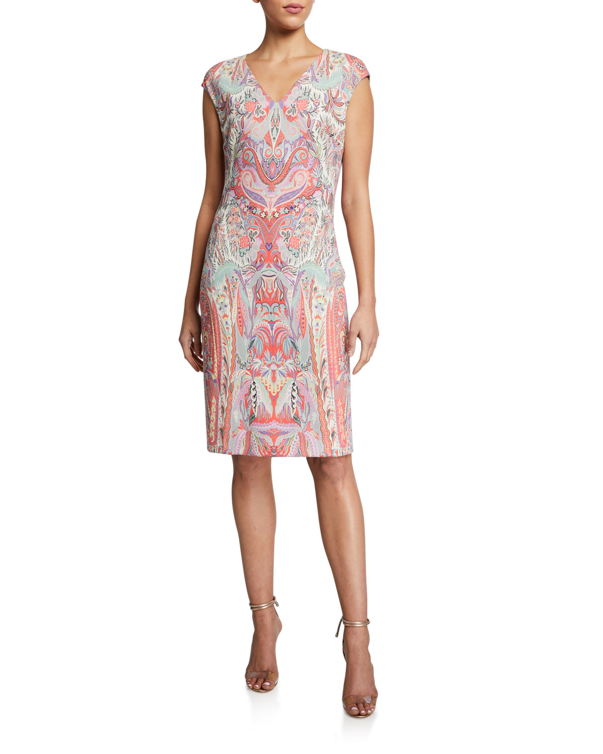 Etro Swirled Paisley Cap-Sleeve Jersey Dress