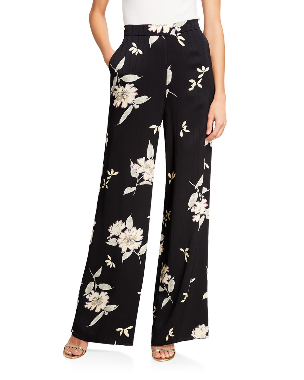 Etro Spaced Plumeria Floral Print Pinstriped Silk Pants