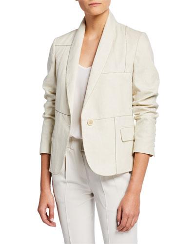 Shawl-Collar One-Button Linen-Cotton Blazer w/ Monili Trim