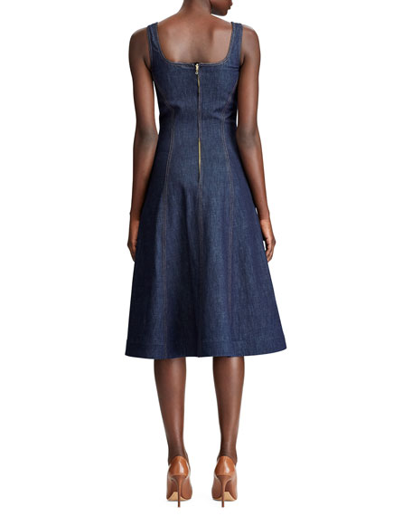 Image 2 of 3: Ralph Lauren Collection Kory Denim Fit & Flare Dress