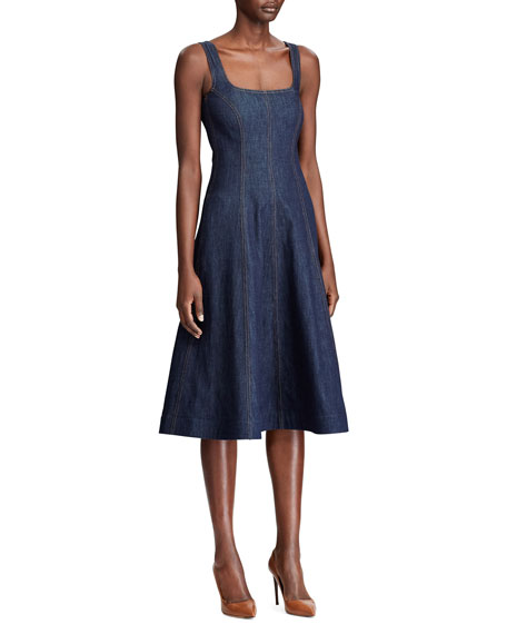 Image 3 of 3: Ralph Lauren Collection Kory Denim Fit & Flare Dress
