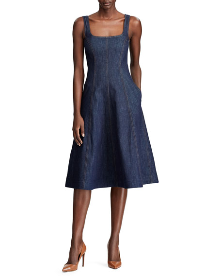 Image 1 of 3: Ralph Lauren Collection Kory Denim Fit & Flare Dress