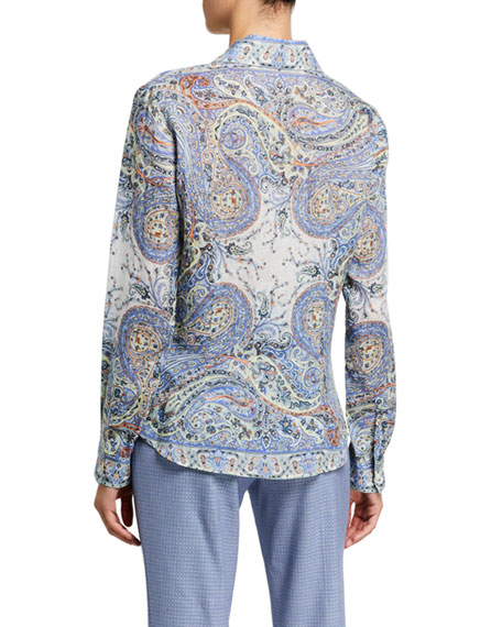 Etro Paisley-Print Ramie Shirt with Contrast Placket