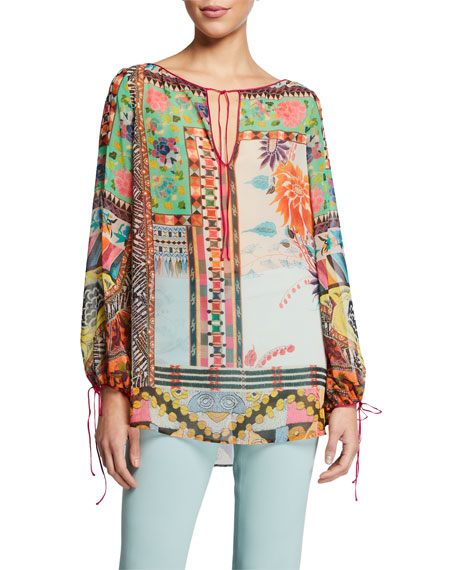 Etro Sher Peasant Floral Mosaic Balloon-Sleeve Blouse