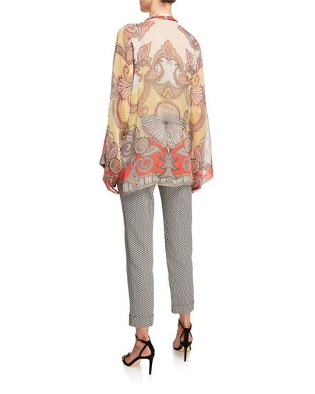 Etro Sheer Paisley-Print Tie-Neck Blouse