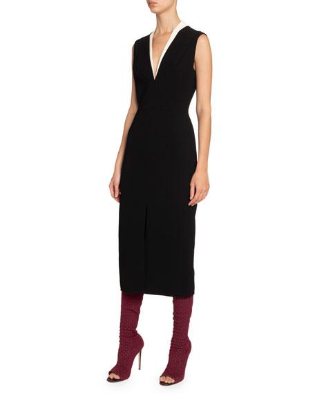 Victoria Beckham Tux-Front V-Neck Dress